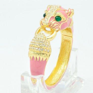 Trendy Pink Enamel Jaguar Leopard Bracelet Bangle Rhinestone Crystals SKC1993X-6