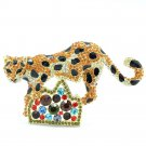 Chic Leopard Panther Brooch Broach Pin Brown Rhinestone Crystals FA3180-2