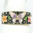 Colorful Flower Purple Butterfly Enamel Bracelet Rhinestone Crystals SKA2054M-3