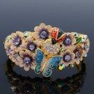 High Quality Ladybug Flower Butterfly Bracelet Bangle W Purple Swarovski Crystal