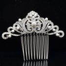 Bridal Wedding Prom Faux Pearl Flower Clear Hair Comb Rhinestone Crystals 214144