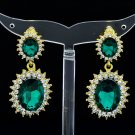 Women Elegant Green Dual Oval Pierced Dangle Earring Rhinestone Crystal 122115
