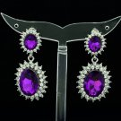 Women Elegant Purple Dual Oval Pierced Dangle Earring Rhinestone Crystal 122115