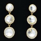 Women 3 Clear Round Drop Pierced Earring Bridal Rhinestone Crystal Party 138919