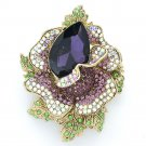 "Rhinestone Crystals Women Party Purple Rose Flower Brooch Broach Pins 2.7"" 5840"