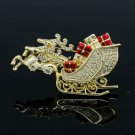 New Gift Gold Tone Clear Rhinestone Crystals Christmas Deer Brooch Pin Sled 0603