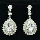 Clear Zircon Water Drop Pierced Earring w/ Rhinestone Crystals For Wedding 20577