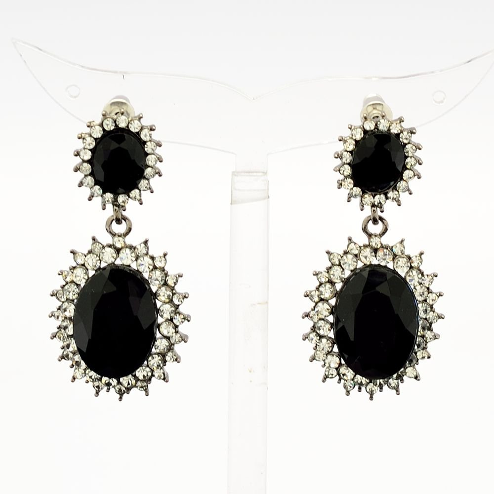 Women Art Deco Black Dual Oval Pierced Dangle Earring Rhinestone Crystal 122115