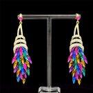 Colorful Multiolor Drop Dangle Flower Earrings Clear Rhinestone Crystals 123835