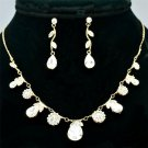 Pretty Clear Zircon Drop Flower Necklace Earring Set Rhinestone Crystals 080104