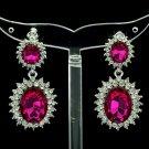 Women Fuchsia Dual Oval Dangle Earring Pierced W/ Rhinestone Crystals 122115