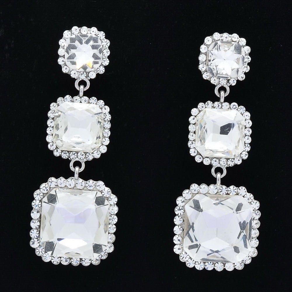 Rhinestone Crystal Bridal Silver Tone Square Drop Pierced Earring Wedding 141525