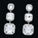 Rhinestone Crystal Bridal Silver Tone Square Drop Pierced Earring Wedding 141525