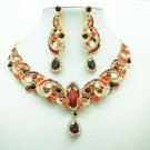 Dazzling Red Rhinestone Crystal Flower Necklace Earrings Jewelry Sets Party 6471