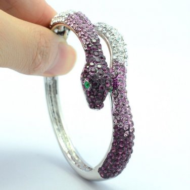 Fancy Purple Rhinestone Crystals Silver Tone Snake Bracelet Bangle Cuff 53104
