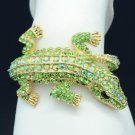 Dazzling Green Swarovski Crystals Crocodile Bracelet Women Bangle Cuff W/ Animal