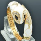Noble Animal White Enamel Snake Bracelet Bangle Swarovski Crystals SKCA2072L-1