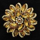 "2984 Rhinestone Crystal Brown Topaz Round Flower Brooch Broach Pin Jewelry 2.5"""