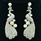 Stylish Clear Rhinestone Crystals Animal Peafowl Peacock Pierced Earrings FA3185
