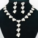 Faux Pearl Flower Necklace Earring Set Rhinestone Crystals Bridal Jewelry 0956