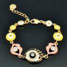 Pink Rhinestone Crystals Enamel Lip Kiss Eye Bracelet Chain Accessories SKA2205