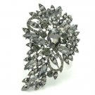 "Exquisite Black Rhinestone Crystals Flower Brooch Pin 3.3"" Jewelry 4080"