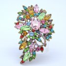 "Colorful Multicolor Rhinestone Crystals Flower Brooch Broach Pin 3.3"" 4080"