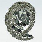 Exquisite Black Flower Brooch Brooch Pin W/ Drop Rhinestone Crystal Jewelry 4236