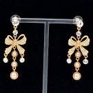 Fashion Pearl Dangle Earring Clear Swarovski Crystals Jewelry Gold Tone SEA0899