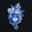 "Graceful Blue Rhinestone Crystals Flower Drop Brooch Broach Pin Party 2.9"" 4997"