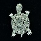 Exquisite Animal Gray Turtle Tortoise Brooch Broach Pin Rhinestone Crystals 3631