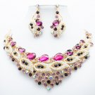 Charming Purple Flower Bud Necklace Earring Jewelry Set Rhinestone Crystal 02777