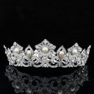 Super Pearl Flower Tiara Crown Bridesmaid Prom Pageant Swarovski Crystal SHA8647