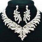 Nice Clear Flower Necklace Jewelry Set Bridal Bridesmaid Rhinestone Crystal 6731