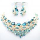 Pretty Sea Blue Flower Bud Necklace Earring Jewelry Set Rhinestone Crystal 02777