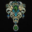 "Huge Green Flower Pendant Brooch Broach Pin 5.1"" W Drop Rhinestone Crystals 4042"
