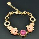 Swarovski Crystal Hi-Quality Enamel 2 Pink Fish Women Bracelet Chain Bangle 2204