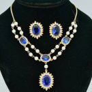 Sapphire Blue Flower Faux Pearl Necklace Earring Set Rhinestone Crystals 682401