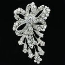 Clear Rhinestone Crystals Bowknot  Flower Brooch Pins Women Wedding Jewelry 4233