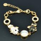 2 Enamel Goldfish Fish Bracelet Chain Bangle Swarovski Crystals Accessories 2204