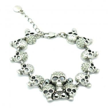 High Quality Gray Skeleton Skull Bracelet Chain Bangle Swarovski Crystals 2191