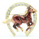 Swarovski Crystals Clevis Brown Enamel Horseshoe Horse Brooch Broach Pin