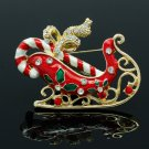 Women Gift Red Enamel Rhinestone Crystals Christmas Sleigh Sled Brooch Pins 5447