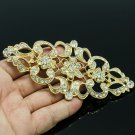 VTG Royal Style Flower Dress Brooch Pin W/ Clear Rhinestone Crystal Women XBY125