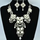 Clear Swarovski Crystals Faux Pearl Necklace Earring Set Jewelry set 624101