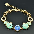 High Quality Swarovski Crystals Enamel 2 Blue Fish Bracelet Chain Bangle 2204