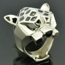 Excellent Cute Leopard Panther Cocktail Ring Women Jewelry Silver Tone Green Eye
