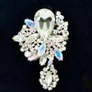 """Wedding Rhinestone Crystals Clear Flower Brooch Broach Pin 3.2"""" 6146"""