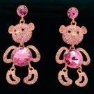 Pretty Cute Dangle Pink Bear Panda Pierced Earring Swarovski Crystals SEA0886-5