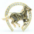 Swarovski Crystals Clevis Gray Enamel Horseshoe Horse Brooch Broach Pin